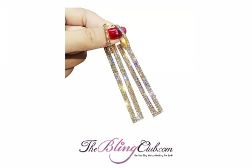the bling club drop crystal bar rhinestone earrings gold