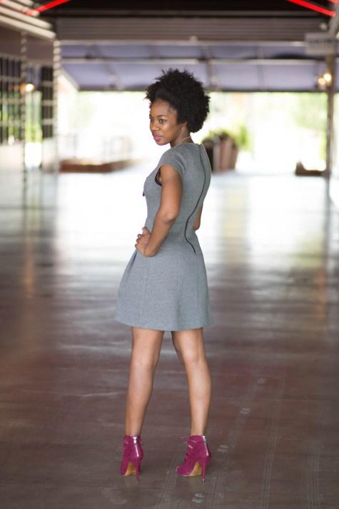 basics, grey, burgundy, grey basic dress, blogger style, natural girl style, natural style, natural hair blogger, lace up heels