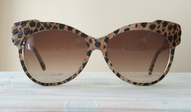70's Yvan et Marzia Oversized Butterfly Plastic Cello Sunglasses with Inlaid Cheetah Print Fabric Handmade in France