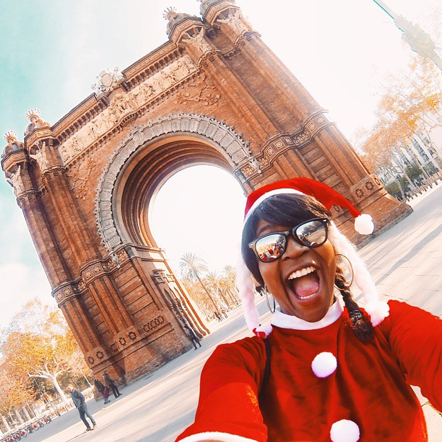 Playing Mrs. Claus in Barcelona aka scaring little children.