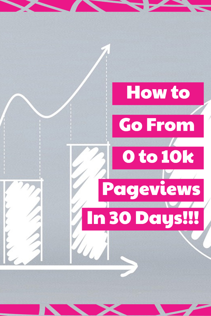 """Image of hand drawn graph with text overlay """"how to go from 0 to 10k pageviews in 30 days!!!"""""""
