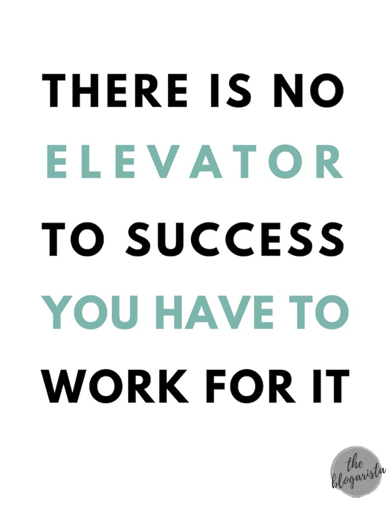 text: there is no elevator to success you have to work for it