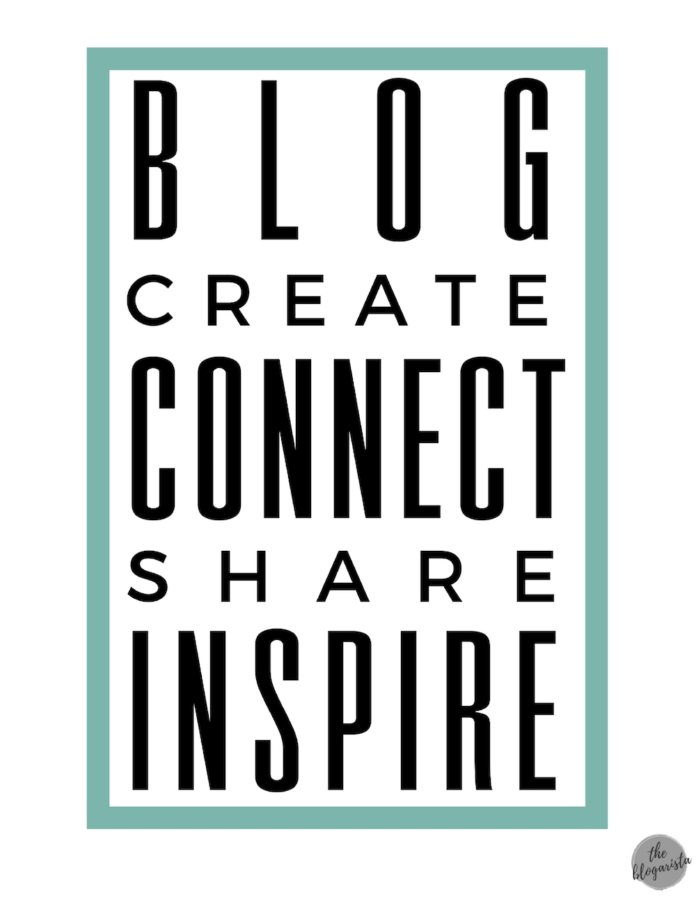 black text with blue rectangle: blog create connect share inspire
