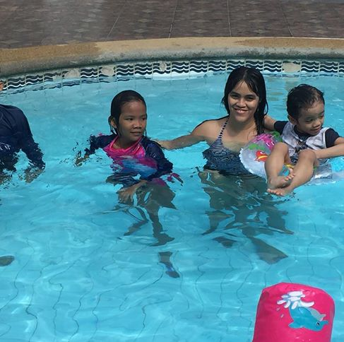 with the kids pool