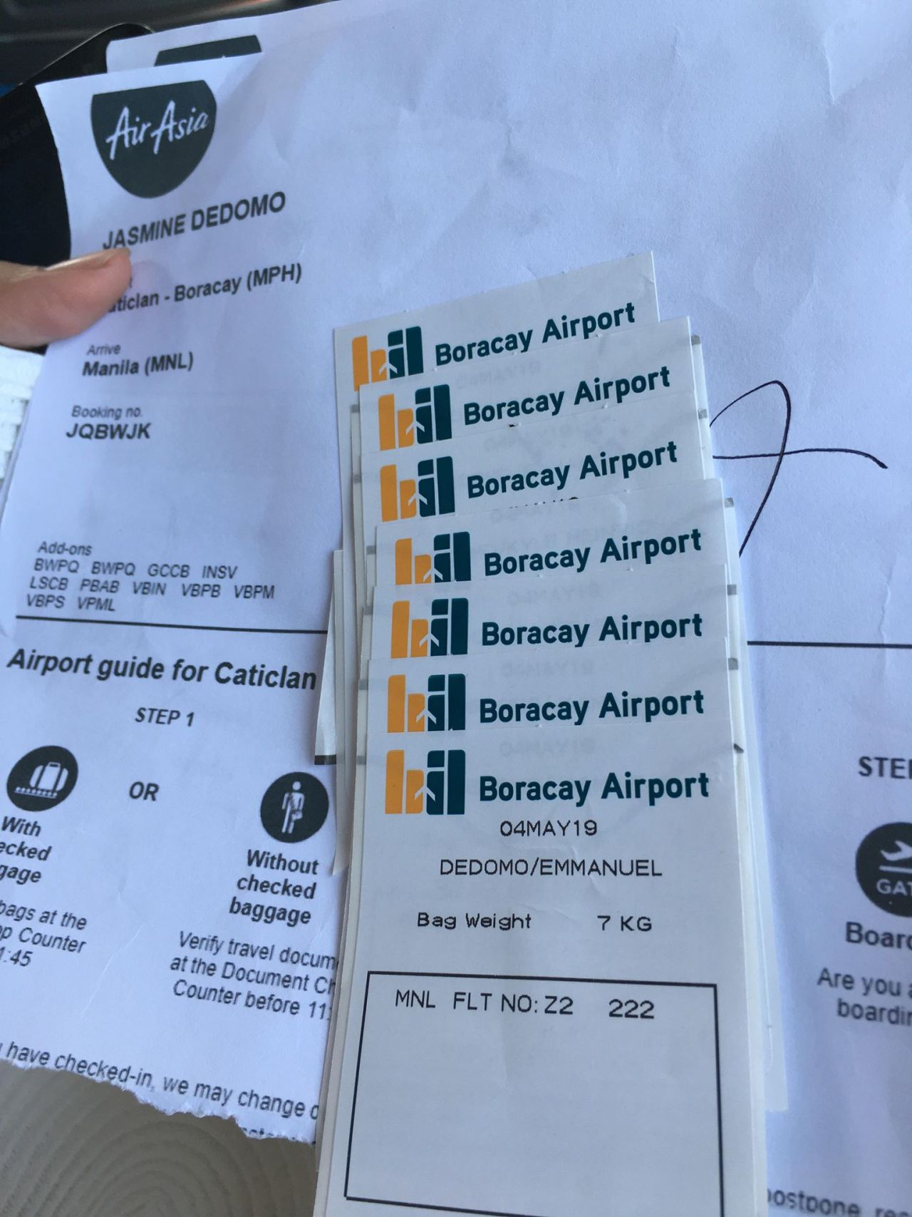 boarding passes back to Manila