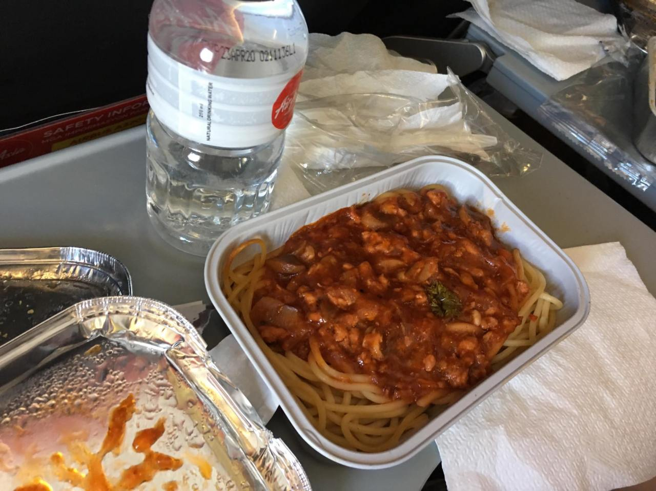 chicken spaghetti inflight meal from Airasia