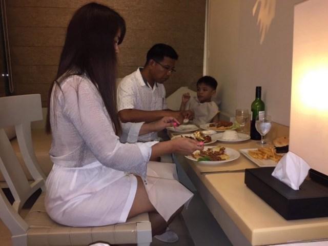 dinner in our room at Estacio Uno Boracay in our Boracay 2019 vacation