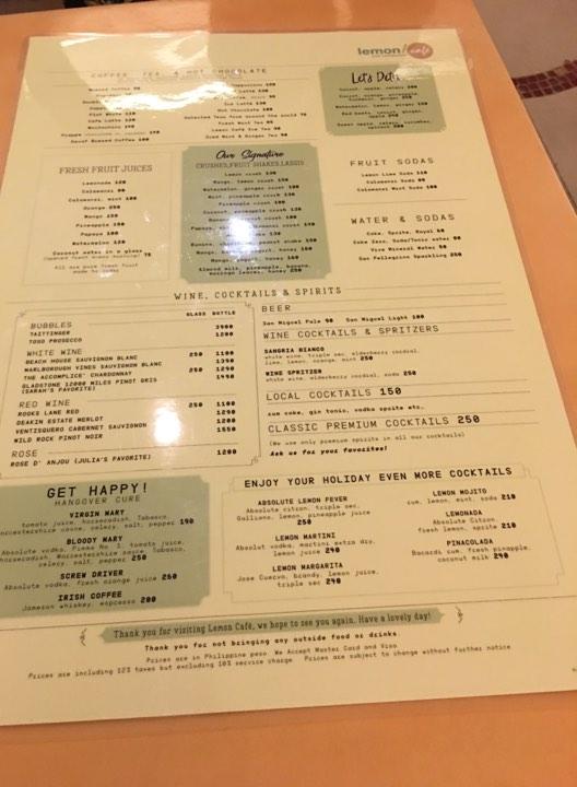 menu at Lemoni Cafe Boracay
