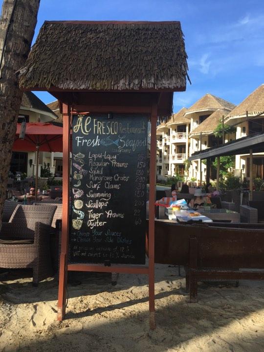 Al Fresco Restaurant menu at Ambassador in Paradise Boracay