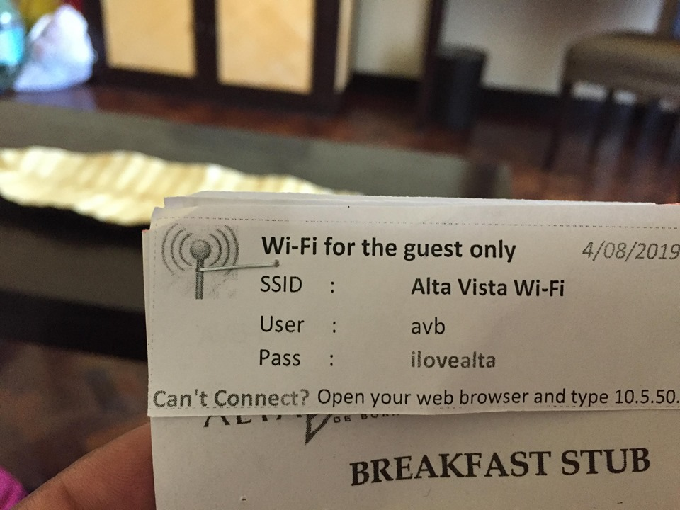 stubs and wifi password  during our stay at Alta Vista de Boracay