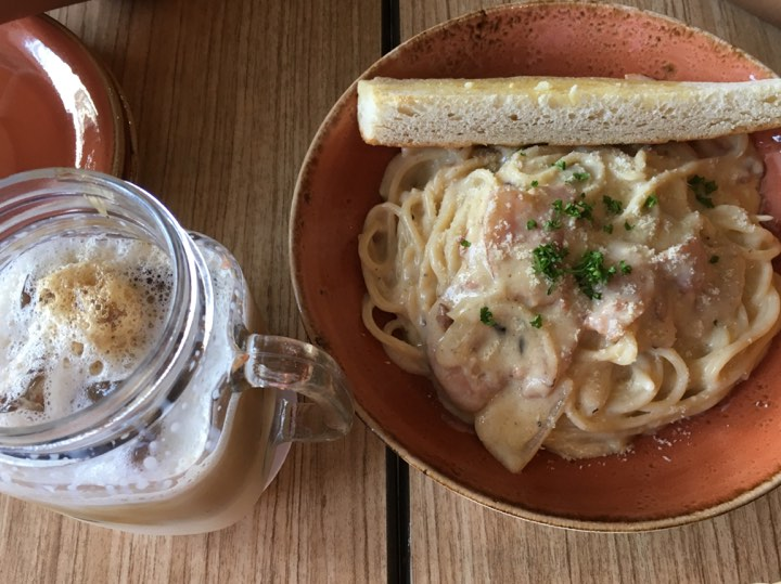 Carbonara and Cafe Latte at UCC  Clockwork Xentro Mall