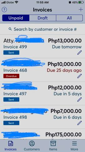 screenshot of my Wave invoices so I can monitor who has paid and whose account is already overdue.