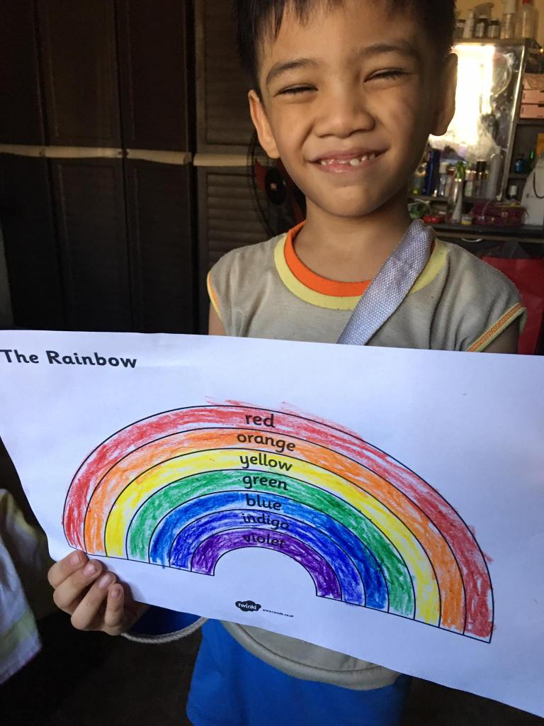 Bruce's rainbow coloring sheet from Twinkl