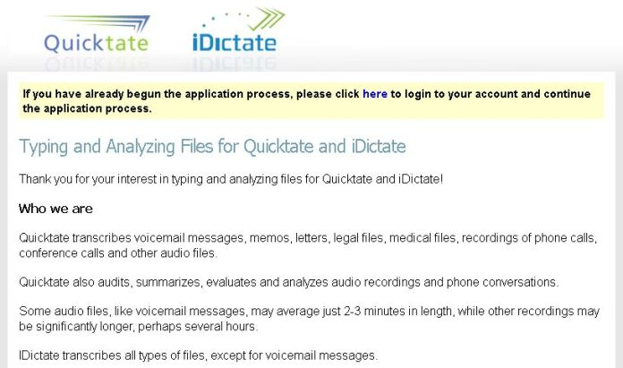 quicktate Home based data entry jobs