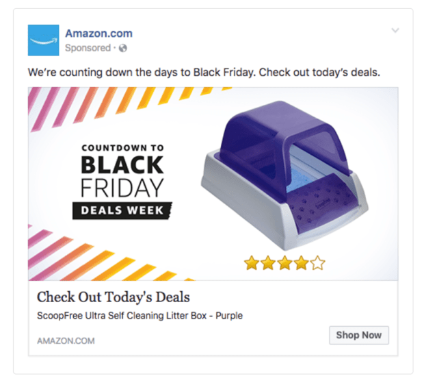Facebook Ads Amazon Shop Now CTA example