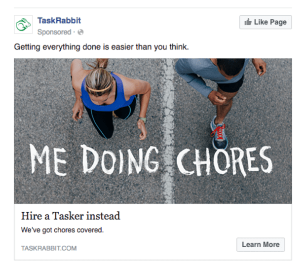 Facebook Ads Task Rabbit Engagement Show Benefits Example
