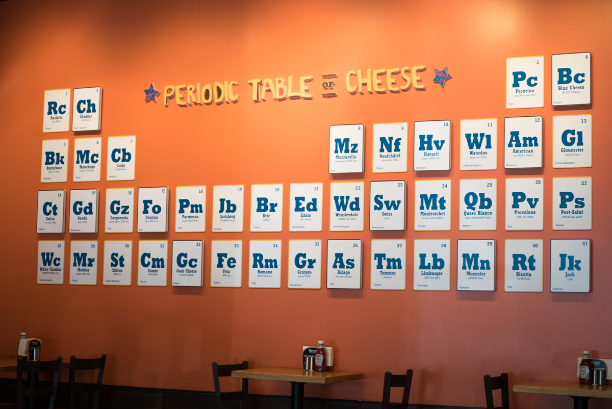 Periodic Table of Cheese from Toasted UCF campus