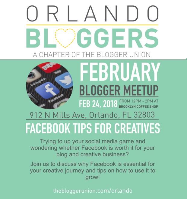 orlando bloggers the blogger union february meetup facebook tips