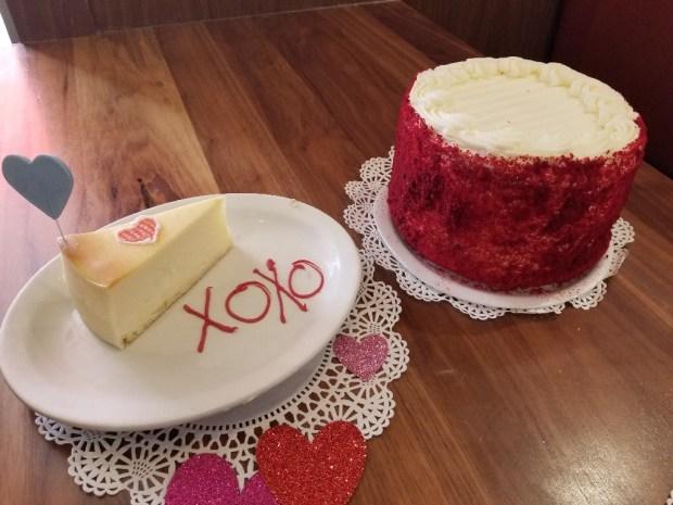 Valentine desserts at Junior's Cheesecake of Boca Raton, Florida.