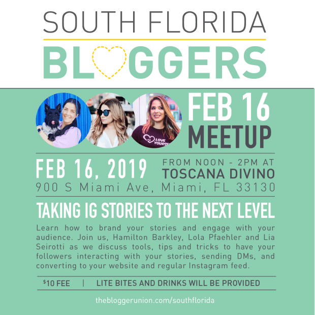 South Florida Bloggers February 2019 Meetup