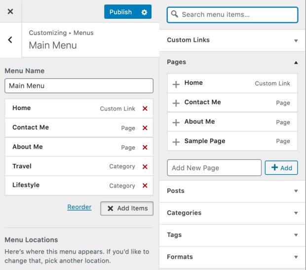 Customizing Your Menu on WordPress