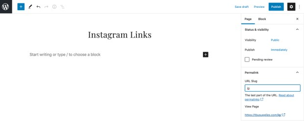 How to create a linktree with WordPress: add a heading to your page