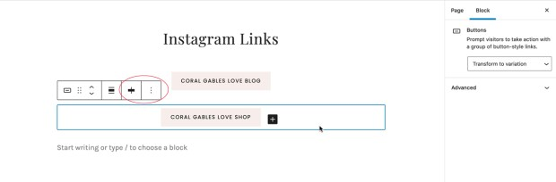 How to create a linktree with WordPress: block three dot menu options