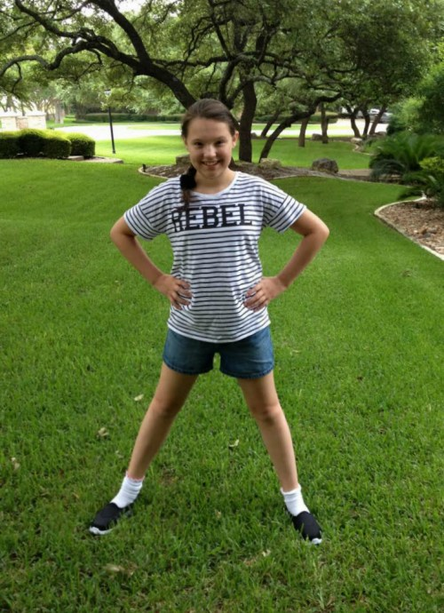 Hailey one minute before leaving for camp.