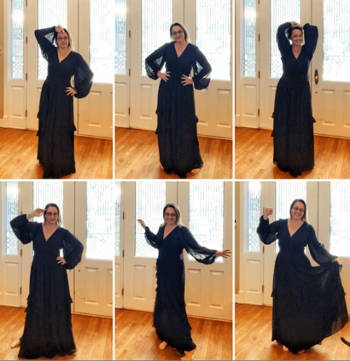 picture of jenny lawson wearing black eshakti dress
