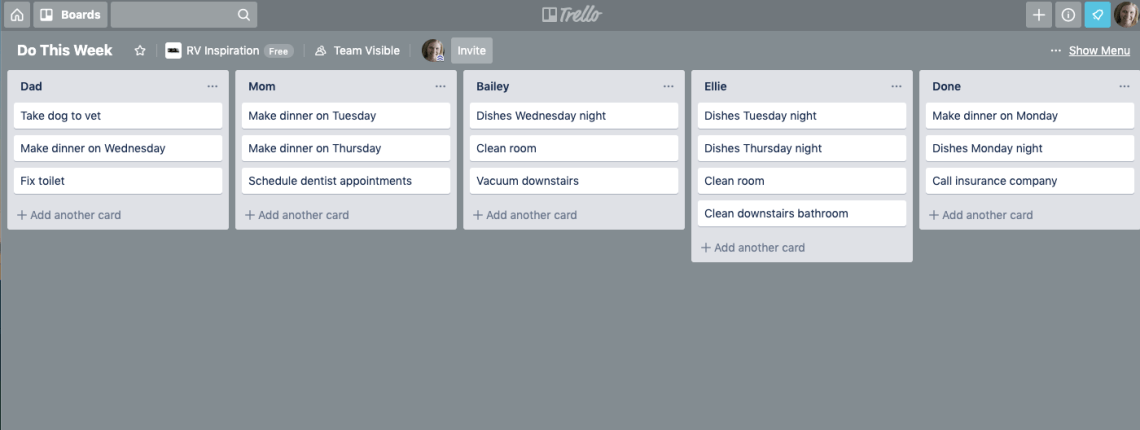 Sample Team Task Management in Trello