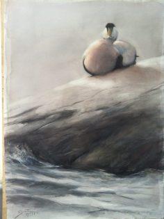 """The Sun Breaks Through"" or Solen bryter igenom/ Ejder/ akvarell 75x105cm Birds in Art - Gunnar Tryggmo"