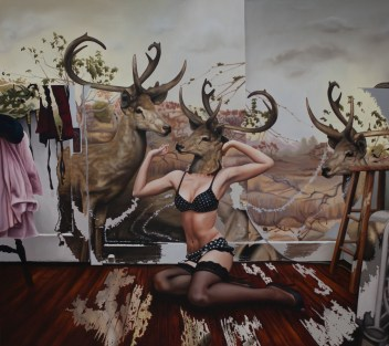 "© Emily Burns, ""The Three Daughters of Mara"", oil on canvas, 52 x 48"", 2012."