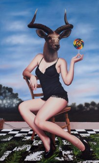 "© Emily Burns, ""Lollipop"", acrylic and oil on canvas,,22 x 36"", 2012."
