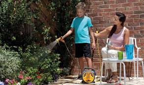 Mom, tell me again about the good old days, when everyone worked together to untangle the hose.