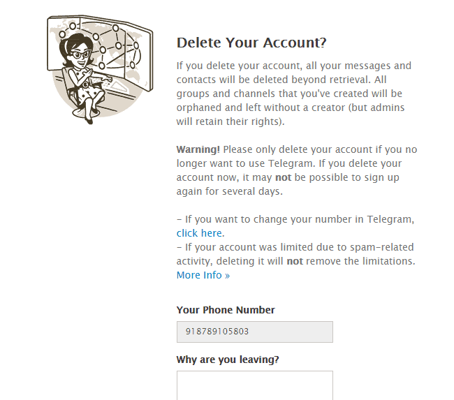 delete account telegram