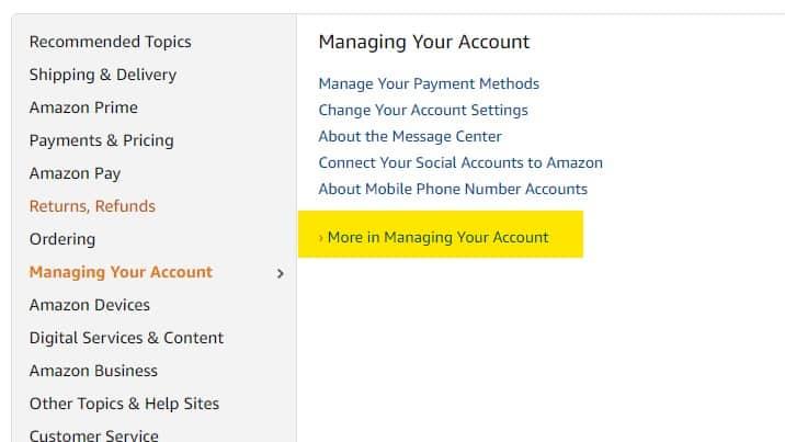 Amazon managing account