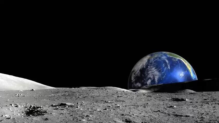 the dream of the moon stroll - sunrise on the moon