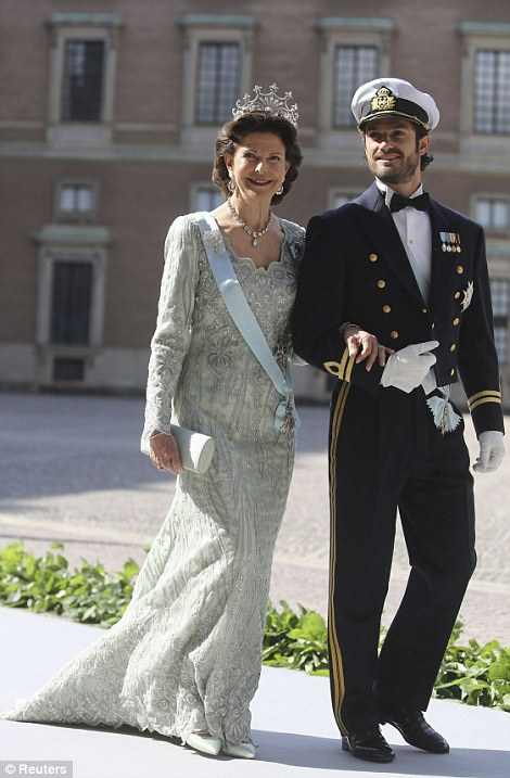 The bride's mother and brother, Queen Silvia of Sweden and Prince Carl Philip.