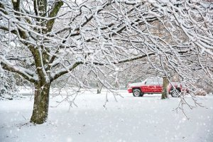 A truck in winter.