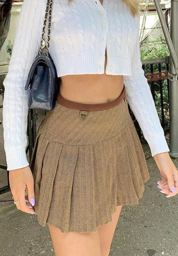 shestar wholesale elegant tie back pleated skirt for officewear