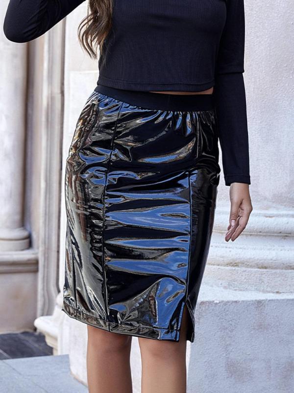shestar wholesale glossy pu leather split a-line skirt