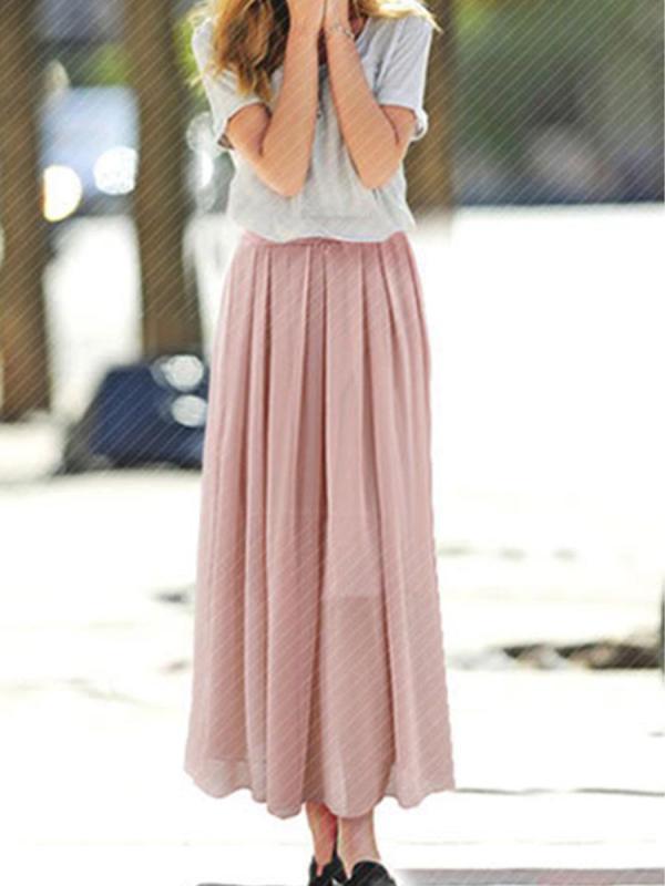 shestar wholesale high waist solid color chiffon pleated skirt