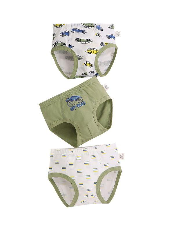 3 Pack Boy Brief Cartoon Print Panties