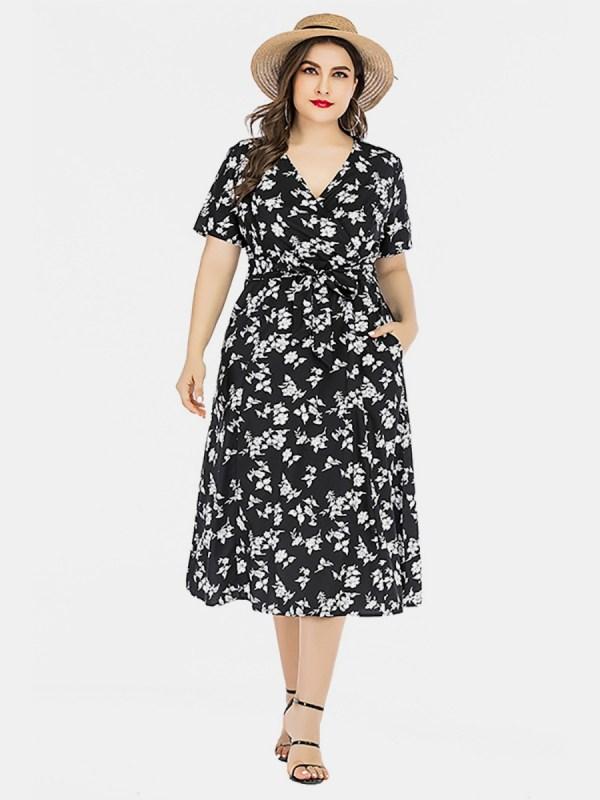 Plus Size Flower Print Tie Waist Dresses