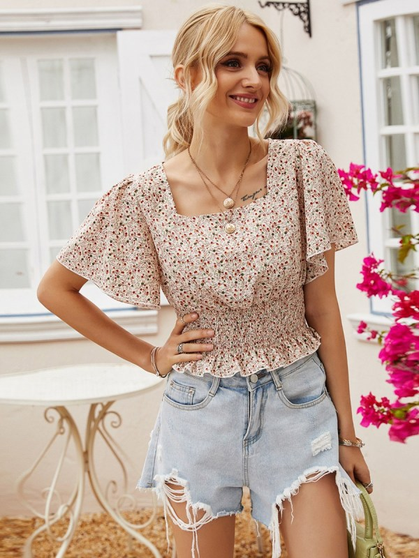 Flutter Sleeve Ditsy Floral Print Shirred Ruffled Blouse