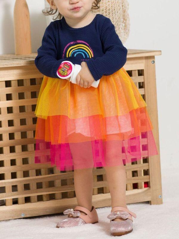 Toddler Kid Girl Rainbow Colorful Mesh Dress