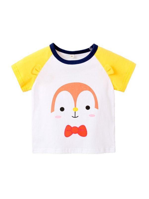 Little Kid Cartoon Penguin Print Raglan Sleeve Tee