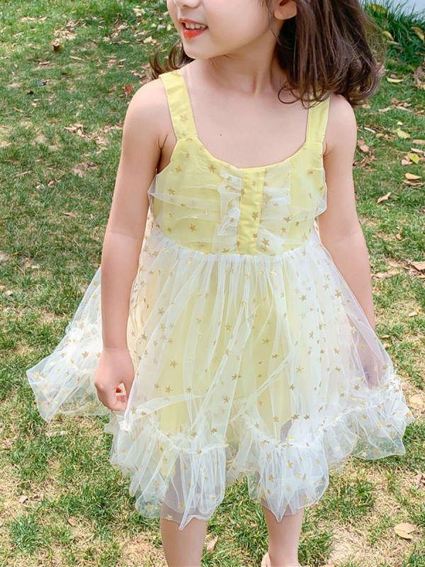 Little Girl Star Tulle Cami Dress