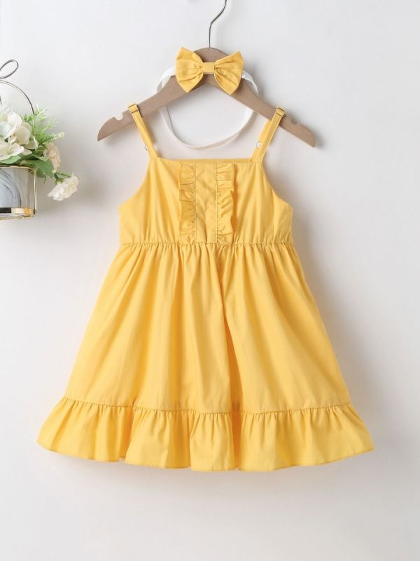 2-Piece Baby Girl Sling Dress And Headband
