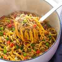 One Pot Creamy Taco Spaghetti